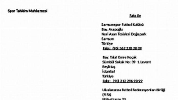 Cas, Samsunspor Kararını 15 Temmuz'da Açıklayacak