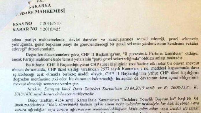 45 milyon liralık ihaleyi yargıya taşıyan CHP'nin başvurusu kabul edilmedi