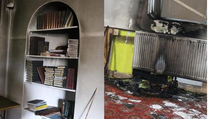 Türk camisi kundaklandı.