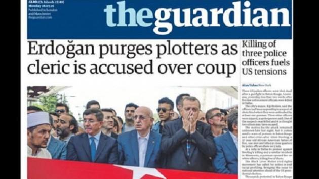 The Guardian,  'Erdoğan'ı Manşet'ten Gördü