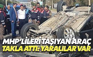 MHP'lilerin Aracı Takla Attı: Yaralılar Var