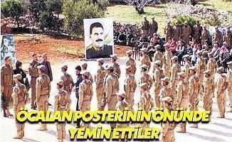 YPG'li Teröristler Öcalan'ın Posteri Önünde Yemin Etti