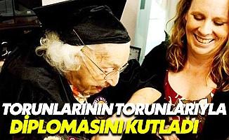 105 yaşındaki kadın liseden mezun oldu