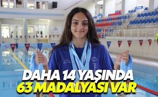 14 yaşındaki milli yüzücünün toplamda 63 madalyası var