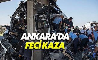 Ankara'da köprü ayağına çarpan otobüste can pazarı